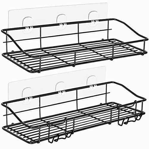 ODesign Adhesive Bathroom Shelf Shower Caddy with Hooks Razor Bath Sponge Holder Kitchen Storage Organizer Spice Rack Wall Mount No Drilling Rustproof Stainless Steel Black - 2 Tier