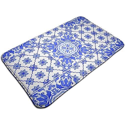 Portugese Azulejo tegels blauw wit deurmat ingang vloermatten met antislip, gemakkelijk schoon 40x60 cm