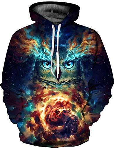 HGSWYUD Unisex 3D Impresin Grfico Hoodie Hombre Muje, Nebulosa bho Casual Manga Larga Pullover Sweatshirt Capucha con Bolsillos