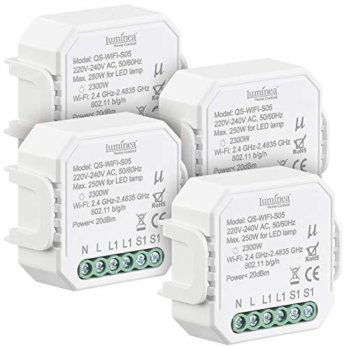 Luminea Home Control Unterputz Schalter: 4er-Set WLAN-Unterputz-Lichtschalter,App, für Siri, Alexa&Google Ass. (WiFi Lichtschalter)