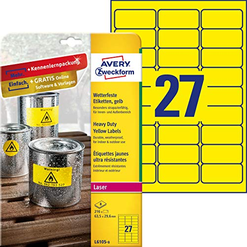 AVERY Zweckform L6105-8 Wetterfeste Folienetiketten (63,5x29,6 mm auf DIN A4, extrem stark selbstklebend, wasserfest, bedruckbare Outdoor Klebefolie) 216 Aufkleber auf 8 Blatt gelb