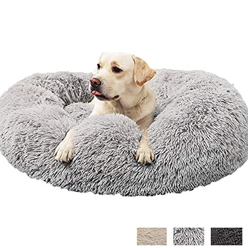 HANHAN Medium Claming Dog Sofa Bed Orthopedic Donut Cave Comfortable Mattress XL Extra Large Washable Wicker Cushion Plush Older Labrador Jumbo Sleep Sofa Anti Anxiety grey