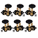 Yibuy Zinc Alloy Black Golden Open Style Guitar Machine Head Tuning Pegs Locking Tuners 3L 3R 18:1 for Classical Guitar
