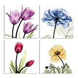 Tulip Flower Colorful Canvas Wall Art 4 Pieces Canvas Decor Living room Bathroom Artworks (Pink , 12inch )