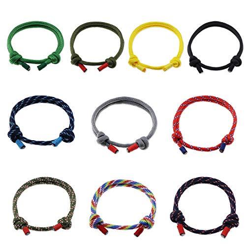OTOTEC Juego de 10 pulseras de cuerda trenzada náutica para surfistas, hechas a mano, ajustable, unisex