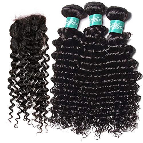 HmtAfro Extensions de cheveux brésiliens ondulés et fermeture en dentelle 10 x 10 cm, couleur naturelle (55,9 cm, 61 cm, 66 cm + 50,8 cm)