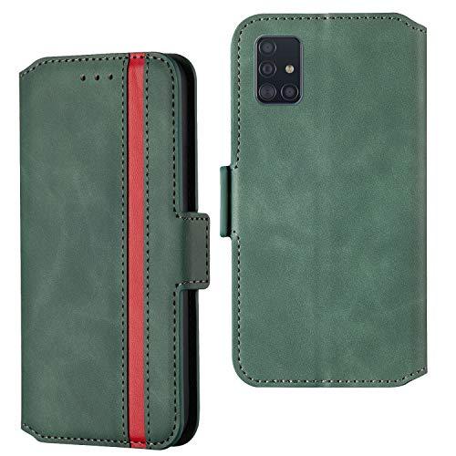 ARRYNN Handyhülle für Samsung Galaxy A51 Hülle,Lederhülle Samsung Galaxy A51 Flip Cover,Premium Schutzhülle Magnet Ledertasche für Samsung Galaxy A51 (R-Grün)