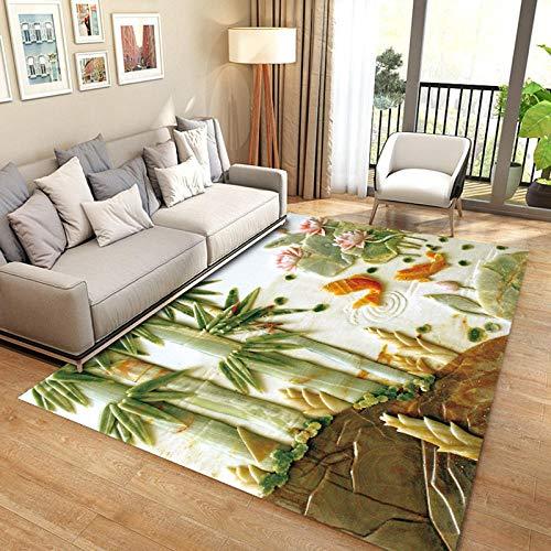 Vlejoy Alfombras Grandes Alfombra China Impresa Antideslizante Lavable-Bambú 80x120cm