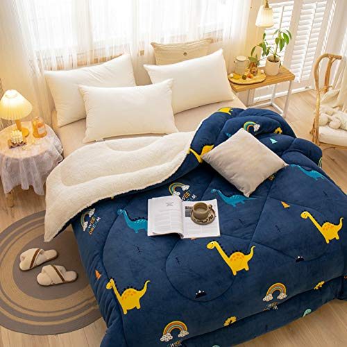 BAIHAO Winter Duvet Lamb Velvet Fabric Winter Quilt, Cotton Fiber Filled Core Double-sided Thick Breathable Winter Warm Quilt, Suitable for Home Use and Gifts