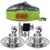Bisgear 20pcs Stainless Steel Tableware Mess Kit Includes Plate Bowl Cup Spoon Fork Knife Chopsticks Carabiner Wine Opener Dishcloth & Mesh Travel Bag for Camping Backpacking & Hiking for 2 Person