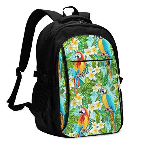 XCNGG Mochila USB con múltiples Bolsillos, Mochila Informal, Mochila Escolar Tropical Floral Parrot Travel Laptop Backpack with USB Charging Port Multifunction Work School Bag