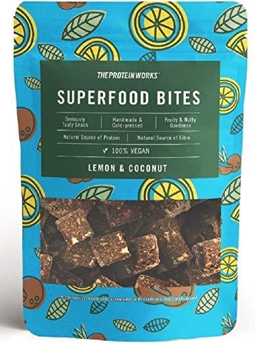THE PROTEIN WORKS Superfood Bites | 100% Vegan | Natürlicher & Gesunder Snack | Pflanzlich | Zitrone & Kokosnuss | 140g