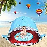 Shark Baby Beach Tent 2021 Upgrade Fold Up&Pop Up Infant Pool Tent Easy Pop Up Beach Tent Sport Umbrella Sun Shelter Tent Protection & Waterproof Sun Tent Toy Tent for Outdoor Beach Garden (Blue)