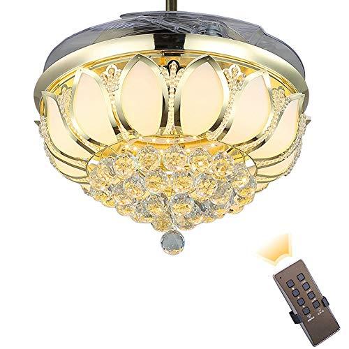 MLDSJQJ Ventilador de Techo Moderno con luz de Cristal Ventilador de Techo Plegable Lámpara de Comedor con Ventilador con Control Remoto   Ventiladores de Techo,110V Dorado