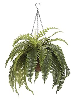 "OakRidge Fully Assembled Artificial Fern Hanging Basket – Indoor/Outdoor Use – 23 ½"" L"