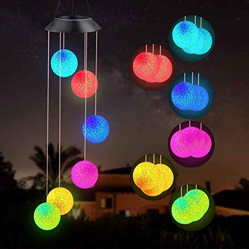 Solar Wind Chime, Butterfly Solar String Lights, Waterproof Changing Color LED Light for Indoor Outdoor Patio Lawn Garden, Romantic Light With Bell Gifts for Mom, Wife, Grandma (Spherical-B)