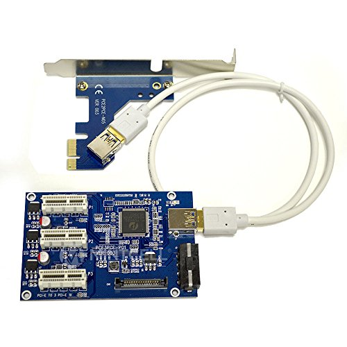 PCI-E Riser Card 1 tot 3 PCI express 1X slots Riser Card Switch Multiplier HUB Riser Card + USB-kabel