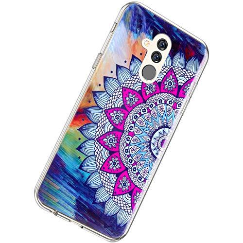 Herbests Kompatibel mit Huawei Mate 20 Lite Hülle Silikon Ultra Dünn Handyhülle Luminous Leuchtend Soft TPU Schutzhülle Crystal Silikon Kristall Durchsichtige Hülle Case,Mandala Blumen