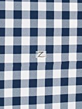 CHECKERED GINGHAM POLY COTTON PRINTED FABRIC - Navy Blue - 57