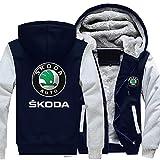 RLJqwad - Sudadera con capucha y cremallera para Skoda 3D con logotipo de manga larga y cálida, gruesa, chaqueta polar forrada de béisbol uniforme Tops (color C, talla: 3XL)