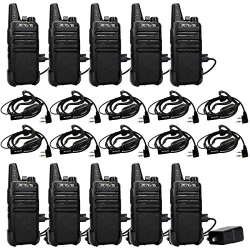 Retevis RT22 Rechargeable Walkie Talkies 16 CH VOX Emergency Two Way Radio 2 Pin Earpiece Headset Mic Li-on Battery Included(10 Pack)