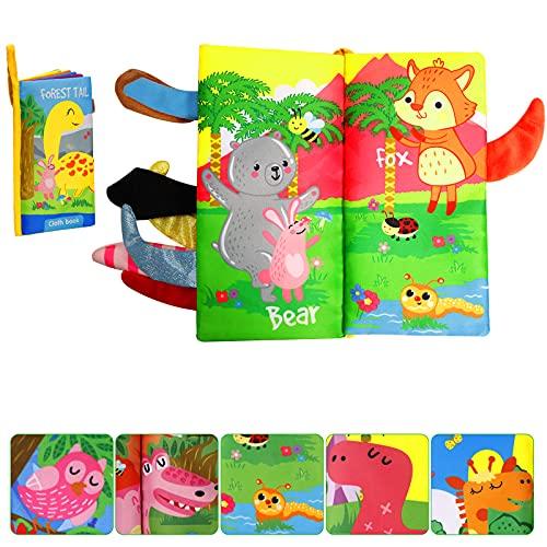 LEADSTAR Libri per Neonati,Giochi Neonato 0-3 Anni,Libri Sensoriale Bambini con Coda di Animali,Morbido Libri Neonati Learning Giocattoli Educativi Regali per Bambini ,1Pack