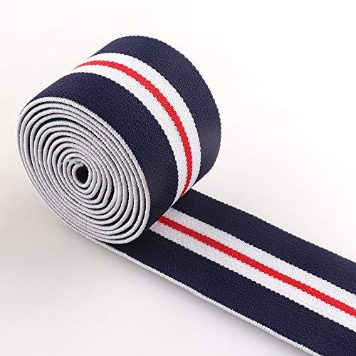"38mm Elastic Webbing Nylon Navy Blue Red White Striped 1.5"" Elastic Ribbon Strap Soft Elastic Band Garment Accessories Waistband Sewing Handband"