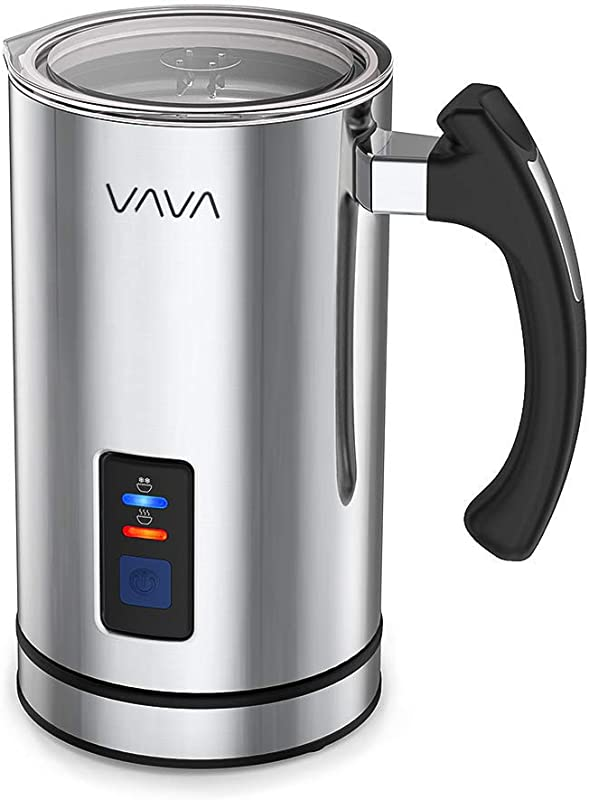 Milk Frother VAVA Electric Liquid Heater With Hot Or Cold Milk Functionality Stainless Steel Electric Milk Steamer Silent Operation Extra Whisks Renewed