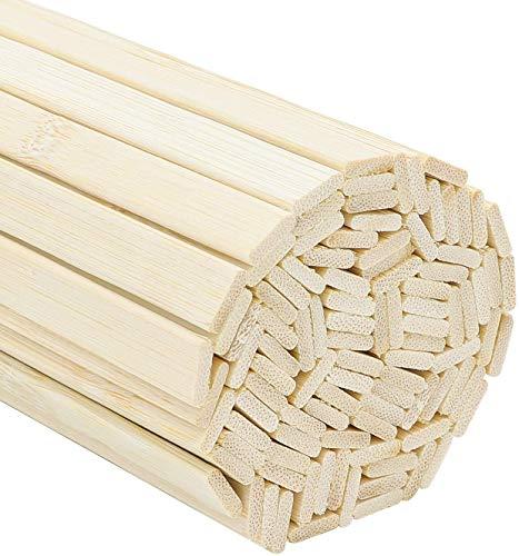 Belle Vous Set Palo de Madera Bambú Extra Largo Natural (Pack de 100) Madera para Manualidades - Varilla de Madera 40cm Resistentes para Proyectos