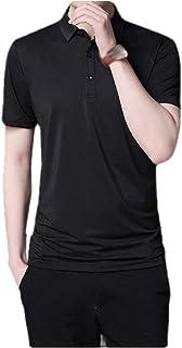 MogogN Men's Pure Color Summer Short-Sleeve Fit Mock Neck Non-Iron Polo Shirt