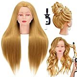 CZFY Cosmetology Mannequin Head with Synthetic Hair and Adjustable Stand 26-28' Blonde for Braiding Hair Styling Training Hairart Hairdressing Salon Display Blonde
