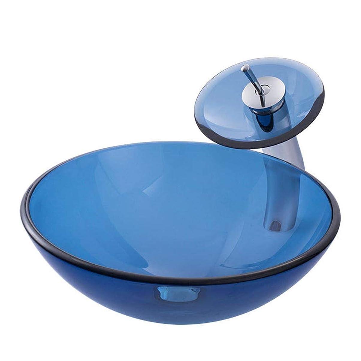 パン屋再撮り永遠の浴室の流し 現代の強化ガラス容器ボウルシンクの青い滝クローム蛇口コンボ、ポップアップシンクドレイン (Color : Blue, Size : 42x42x14.5cm)