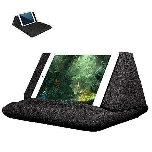 Soporte de almohada suave para tableta, cojín de soporte para libros de lectura para lectores electrónicos, almohada suave multiángulo utilizado en cama escritorio coche regazo suelo sofá (negro#1)