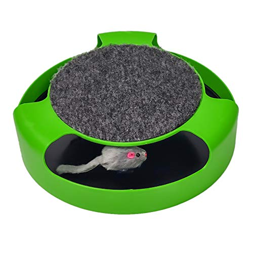 Pasking Interactive Cat Toy, Catch The Mouse Cat Toy with a Running Mouse and a Scratching Pad, Cat Scratcher Catnip...