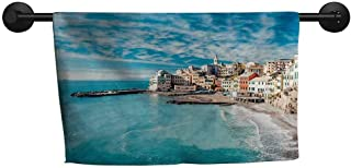 ZSUO Hand Towel W 14 x L 14(inch) Highly Water Absorbent Hotel Bathroom Towel,Italy,Panorama of Old Italian Fishing Village Beach in Old Province Coastal Charm Image,Turquoise