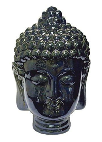 Sagebrook Home AC10061 Buddha Head, Blue Ceramic, 7 x 6.5 x 12.5 Inches