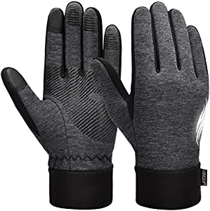 VBIGER Thickened Winter Gloves Warm Touch Screen Gloves Anti-Slip Cycling Gloves (Gris Oscuro, S)