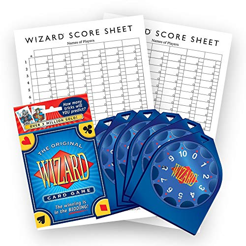 US Games Systems Original Wizard Card Game, Wizard Bidding Wheels and Oversized Scorepads Bundle — Entertaining Games for Family and Friends — for 3-6 Players, Ages 10 Years+