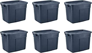 Rubbermaid 18 Gal Pack of 6 Roughneck️ Storage Totes Durable, Reusable, Set of Large Plastic Storage Bins