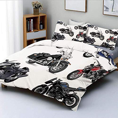 Juego de funda nórdica, exclusivo juego de motocicletas originales Freestyle Action Life con ruedas aladas Hobby Print Juego de cama decorativo de 3 piezas con 2 fundas de almohada, multicolor, el mej