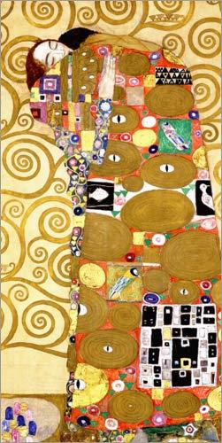 Posterlounge Leinwandbild 40 x 80 cm: Die Erfüllung (Stoclet-Fries) von Gustav Klimt - fertiges Wandbild, Bild auf Keilrahmen, Fertigbild auf echter Leinwand, Leinwanddruck