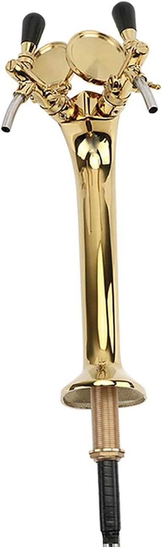 Engfgh Torre De Cerveza, Grifos Duales Ajustables Cobra Design Torre De Cerveza Lujo Material De Latón De Oro PVD Torre De Cerveza Chapada con Insignias De Cerveza para Homebrew