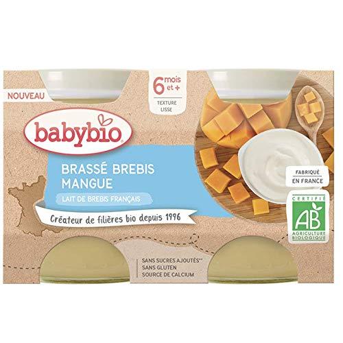 Babybio Petits Pots Brassé, Lait de Brebis Français, BIO, Mangue, 6 Mois+, 130 g, Lot de 2