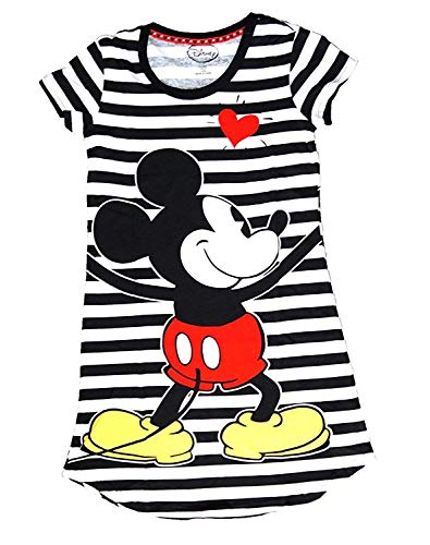 Disney Classic Mickey Mouse Dorm Nightie T Shirt - Front and Back Print- Black & White Stripes 08 Womens Pink T-shirt
