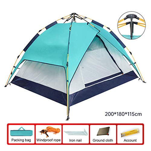 BRISEZZ Portable Instant Automatic Tent - Pop Up Tent Family Camping 4 Person Tent - Waterproof Windproof for Camping Hiking Mountaineering,200 * 180 * 115Cm,1 HRTT (Color : 1)