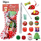 Cat Toys , Legendog 16PCS Cat Christmas Toys Set Kitten Toys Cat Toys for Indoor Cats Mice Toy Cat Teaser Wand - Christmas Stocking Gift for Cats