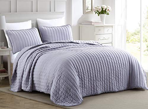 Chezmoi Collection Iris 2-Piece Purple Pom Pom Quilt Set, Ball Fringe Channel Quilted Bedspread, Washed Microfiber Coverlet, Twin Size