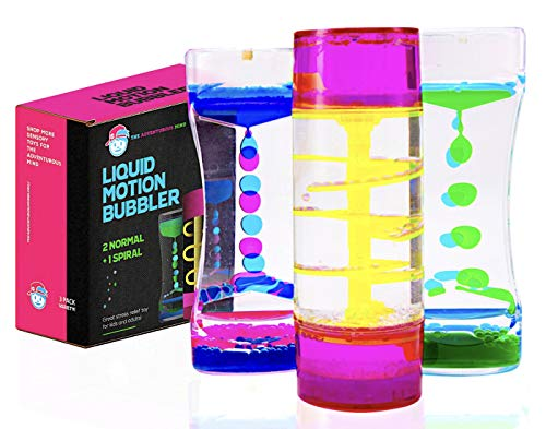 Liquid Motion Bubbler Set (Variety 3-Pack) The #1 Sensory Relief Fidget Toys Water Bubbler & Liquid Timer for Autistic Children & Sensory Kids + Spiral Liquid Motion Bubbler for Sensory Play