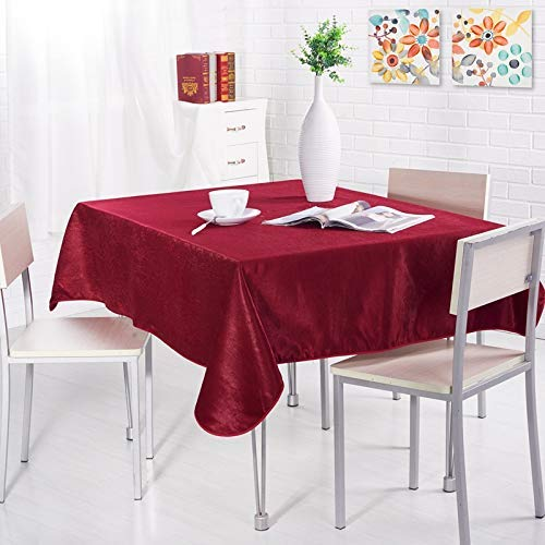 DAKEUR Mantel de Mesa de Color sólido de Dos Lados Mantel Grueso Simple Mantel de un Solo Color Mantel de Dos Lados Mantel de té 110 * 160cm 双面 酒红