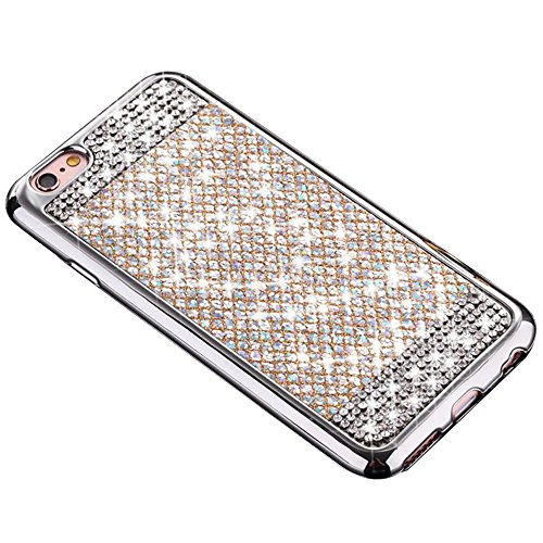 LAPOPNUT for Samsung Galaxy s6 Case, Bling Diamond Glitter PU Leather Case Sparkle 3D Handmade Rhinestones 2 in1 Hybrid Soft TPU Cover Protective Bumper for Galaxy s6,Silver